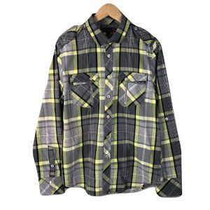 G By Guess Men's SZ M Green Grey Shirt Plaid